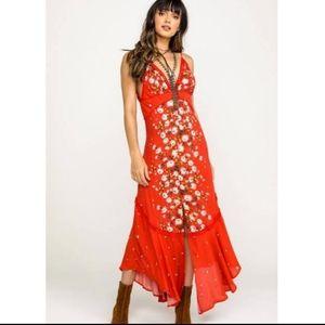 Free People Paradise Print Red Maxi Dress Sm NWT